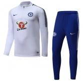 17-18 Chelsea White&Black Training Kit(Half Zipper Jacket+Trouser)