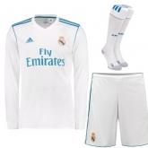 17-18 Real Madrid Home White  Long Sleeve Jersey Whole Kit(Shirt+Short+Socks)