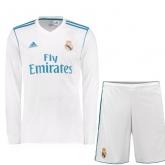 17-18 Real Madrid Home White Long Sleeve Jersey Kit(Shirt+Short)