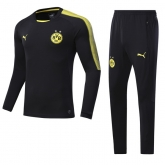 17-18 Borussia Dortmund Black Training Kit(Sweater+Trouser)