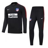 17-18 Atletico Madrid Black Training Kit(Zipper Shirt+Trouser)