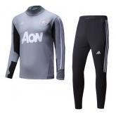 17-18 Mancehster United Gray Training Kit(Zipper Shirt+Trouser)