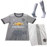 17-18 Manchester United Away Gray Children's Jersey Whole Kit(Shirt+Short+Socks)