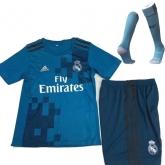 17-18 Real Madrid Third Away Blue Children's Jersey Kit(Shirt+Short+socks)