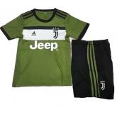 17-18 Juventus Third Away Green Children's Jersey Kit(Shirt+Short)