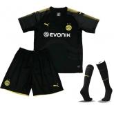 17-18 Borussia Dortmund Away Black Children's Jersey Whole Kit(Shirt+Short+Socks)