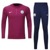 17-18 Manchester City Purple Training Kit(Zipper Shirt+Trouser)
