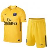 17-18 PSG Away Yellow Soccer Jersey Kit(Shirt+Short)