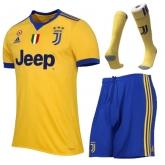 17-18 Juventus Away Yellow&Blue Soccer Jersey Kit(Shirt+Short+Socks)