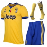 17-18 Juventus Away Yellow&Blue Soccer Jersey Kit(Shirt+Short+Socks)