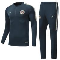 17-18 Club America Blue Green Zipper Training Kit(Sweat+Trouser)