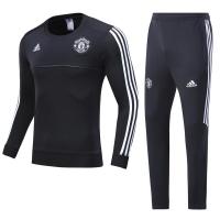 17-18 Mancehster United Black Round Neck Training Kit(Shirt+Trouser)