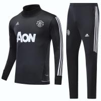 17-18 Mancehster United Dark Gray Turtleneck Training Kit(Shirt+Trouser)