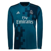 17-18 Real Madrid Third Away Blue Long Sleeve Jersey Shirt