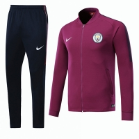 17-18 Manchester City Purple Low Collar Training Kit(Jacket+Trouser)