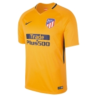 17-18 Atletico Madrid Away Yellow Soccer Jersey Shirt(Player Version)