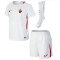 17-18 Roma Away White Soccer Jersey Whole Kit(Shirt+Short+Socks)