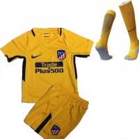 17-18 Atletico Madrid Away Yellow Children's Jersey Whole Kit(Shirt+Short+Socks)