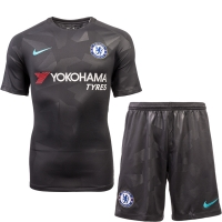 17-18 Chelsea Third Away Black Soccer Jersey Kit(Shirt+Short)