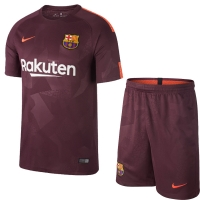 17-18 Barcelona Third Away Red Soccer Jersey Kit(Shirt+Short)
