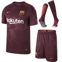 17-18 Barcelona Third Away Red Soccer Jersey Whole Kit(Shirt+Short+Socks)