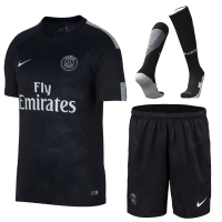 17-18 PSG Third Away Black Soccer Jersey Whole Kit(Shirt+Short+Socks)