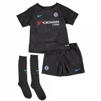 17-18 Chelsea Third Away Black Children's Jersey Whole Kit(Shirt+Short+Socks)