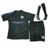 17-18 Manchester City Third Away Deep Green Children's Jersey Kit(Shirt+Short+socks)