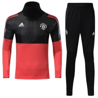 17-18 Mancehster United Champion League Black&Red Training Kit(Turtleneck Shirt+Trouser)