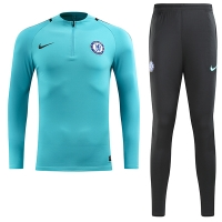 17-18 Chelsea Light Blue Training Kit(Zipper Shirt+Trouser)