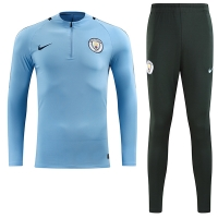 17-18 Manchester City Sky Blue Training Kit(Zipper Shirt+Trouser)