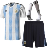 2018 World Cup Argentina Home Soccer Jersey Whole Kit(Shirt+Short+Socks)
