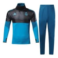 17-18 Real Madrid Champion League Black&Blue Training Kit(Turtleneck Shirt+Trouser)