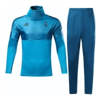 17-18 Real Madrid Champion League Blue Training Kit(Turtleneck Shirt+Trouser)