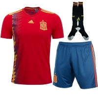 2018 World Cup Spain Home Soccer Jersey Whole Kit(Shirt+Short+Socks)