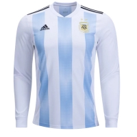 2018 World Cup Argentina Home Long Sleeve Soccer Jersey Shirt