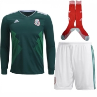 2018 World Cup Mexico Home Long Sleeve Soccer Jersey Whole Kit(Shirt+Short+Socks)