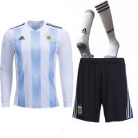 2018 World Cup Argentina Home Long Sleeve Jersey Whole Kit(Shirt+Short+Socks)