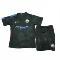 17-18 Manchester City Third Away Deep Green Children's Jersey Kit(Shirt+Short)