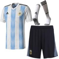 2018 World Cup Argentina Home Soccer Jersey Whole Kit(Shirt+Short+Socks)
