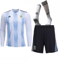 2018 World Cup Argentina Home Long Sleeve Jersey Whole Kit(Shirt+Short+Socks)