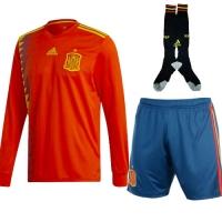 2018 Spain Home Long Sleeve Soccer Jersey Whole Kit(Shirt+Short+Socks)