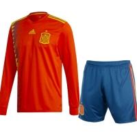 2018 Spain Home  Long Sleeve Soccer jersey kit (Shirt+Short)