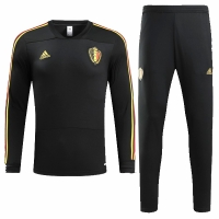 2018 World Cup Belgium Black Training Kit(Sweat Top Shirt+Trouser)