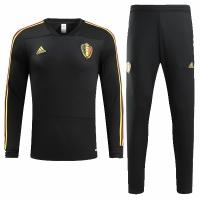 2018 World Cup Belgium Black Training Kit(Sweat Top Shirt+Trouser)