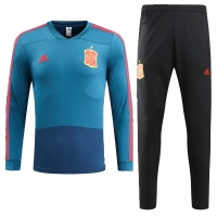 2018 World Cup Spain Blue&Black Training Kit(Sweat Top Shirt+Trouser)