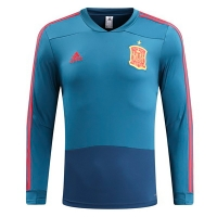 2018 Spain Blue Training Sweat Top Shirt