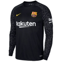 17-18 Barcelona Goalkeeper Black Long Sleeve Jersey Shirt