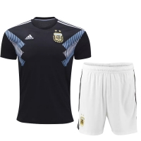 2018 World Cup Argentina Away Black&White Jersey Kit(Shirt+Short)