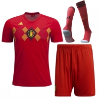 2018 World Cup Belgium Home Red Soccer Jersey Whole Kit(Shirt+Short+Socks)